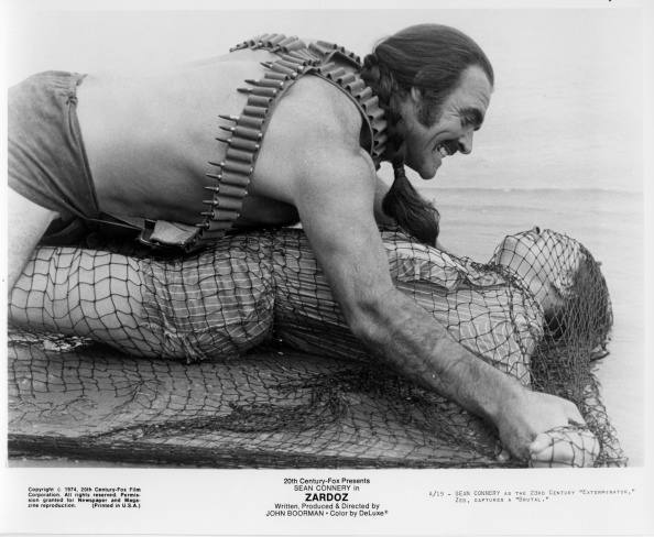 "CIRCA 1974: Sean Connery captures a woman in a scene from the 20th Century Fox movie ""Zardoz"" circa 1974. (Photo by Hulton Archive/Getty Images)"