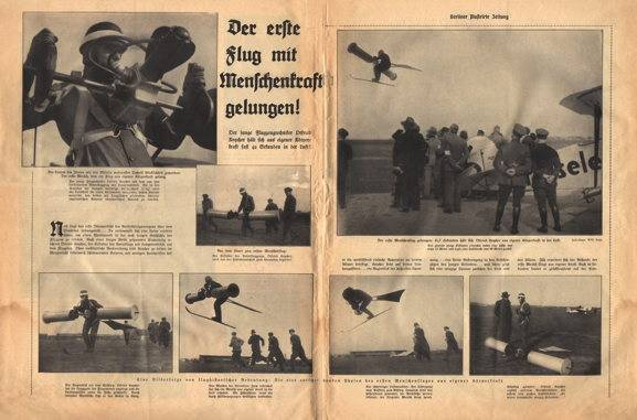 """April Fool's Day edition of a German news magazine, the Berliner Illustrierte Zeitung. International News Photo had distributed the photo to its American subscribers without Identifying the photo as a joke. International News Photo Confused details of the Berliner Illustrierte Zeitung 's original article. In the original, It was not the force of Kocher's breath That Caused the rotor to turn. Instead, the pilot breathed normally into the box, triggering a chemical reaction did Extracted the carbon dioxide from his breath and used it to power a small motor. The factthat carbon dioxide is not very combustible and THUS would make a terrible fuel what part of the joke. International News Photo So misspelled the pilot's name. In the original it what Otfried Koycher, Which was a pun on the German word """"wheeze"""" meaning to wheeze or gasp for breath."""