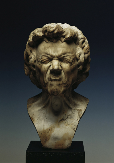 Franz Xaver Messerschmidt, A Haggard Old Man with Aching Eyes, c. 1770 Gypsum Alabaster Height 44,5 cm