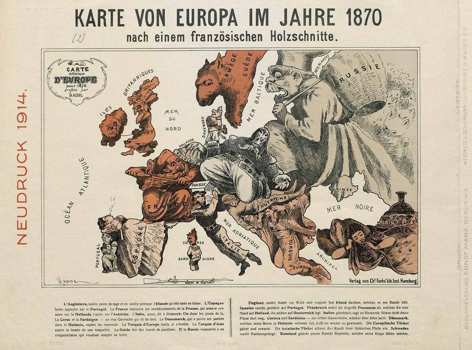 German Cartoon Map of Europe 1914