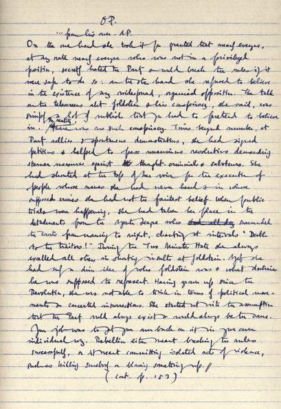 George Orwell's original and corrected manuscript of '1984' in his own handwriting.