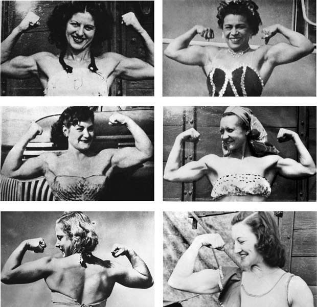 In the 1940s and '50s, there were few places where muscular women congregated; one of the most important was in the circus. Aerialists, trapeze artists, and acrobats all developed impressive musculature by practicing their arts. There was a cadre of men who pursued these women and captured their flexing biceps on film. The pictures do not show much creativity or talent, but they document female muscularity at a time when such images were very rare. There is a rustic charm to these photographs, taken in off-hours in fort of circus wagons or company busses. Unfortunately, few paying customers wanted to see girls posing like this.