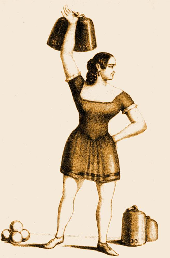 Among the earliest strongwomen whose names have come down to us is the subject of this lithograph: Elise Serafin Luftmann. Apparently from a German-speaking region of Bohemia, she performed all over central Europe. Luftmann was famous for her ability to lift heavy weights and to juggle cannonballs. This illustration dates c. 1830.