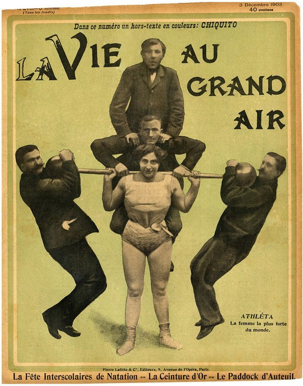 The Belgian strongwoman had figured out that the one of the ways that she could amaze audiences was to lift a man on her shoulders. Eventually she was able to support half a dozen burly males as well as an oversized barbell.