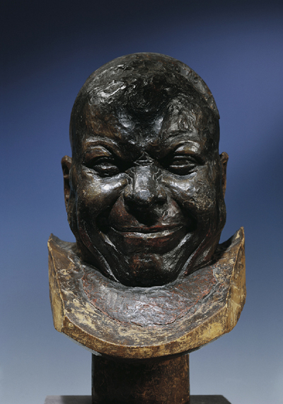 Franz Xaver Messerschmidt, An Old Cheerful Smiler, c. 1770 Wood with wax edition Height 36 cm