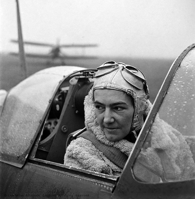 Anna Leska, Air Transport Auxilliary, Polish pilot flying a spitfire, England 1942 by Lee Miller