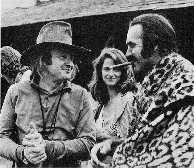 "Director John Boorman with Charlotte Rampling and Sean Connery on ""Zardoz"" (1974)"
