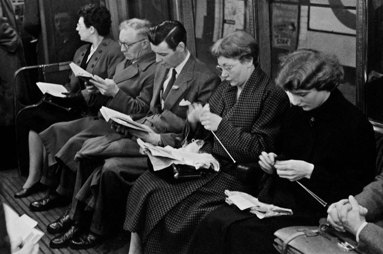 1955, London, underground commuters