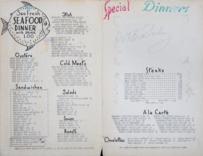 "An Elvis Presley signed menu from the Andrews Café in Hillsboro, Texas. Signed on the menu interior ""PVT Elvis Presley."""