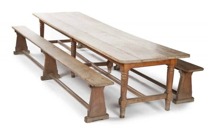 "Antique and later table made of limed oak. Together with two benches. ""This refectory table was left at Tittenhurst by John and Yoko when I took over the house. Enjoy!"" – Ringo"