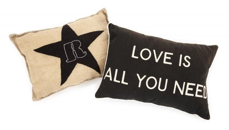 "The first has ""R"" with a star, the second ""Love is all you need."""