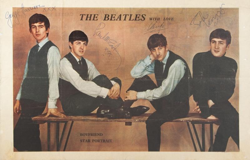 "A color centerfold image of the Beatles from the June 15, 1963 issue of Boyfriend magazine. The ""Boyfriend Star Portrait"" is signed in blue ink by George Harrison, Paul McCartney and John Lennon and it is signed in black ink by Ringo Starr. The magazine poster was discovered in a trunk full of press clippings and ephemera gathered by Starr's mother."