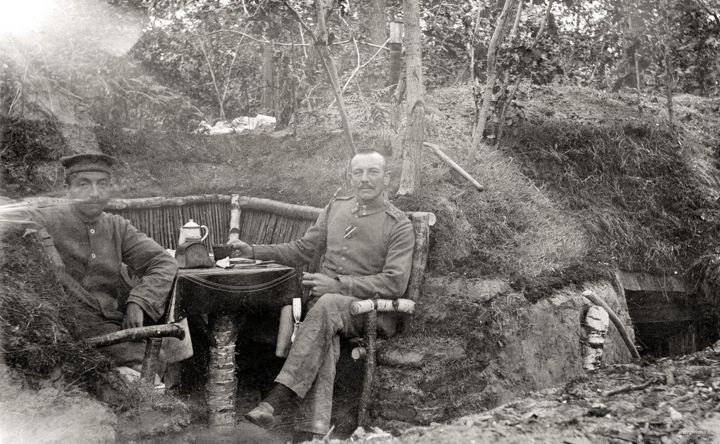 Prussians enjoying a coffee and some bread outside their dugout