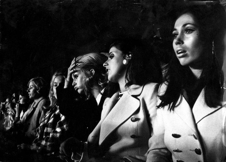 Ajax: players' wives watching the European Cup Final A.C. Milan- Ajax (4-1). Madrid, Spain, 28 May 1969. From right to eftt: Yvonne van Duivenbode, Maya Suurbier, Danny Cruyff, Andrea Swart and Carla Suurendonk.