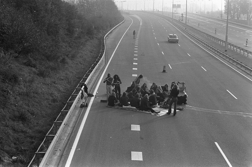 Car Free Sunday related with the oil boycott Picnic on a motorway November 4, 1973