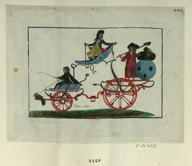 A caricature showing the three estates as part of a carriage (1789) (via French Revolution Digital Archive)