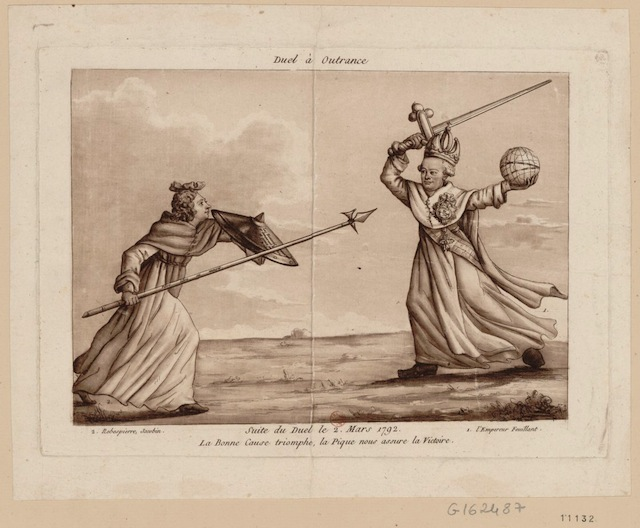 A caricture showing a duel between Robespierre and the moderates (1792) (via French Revolution Digital Archive)