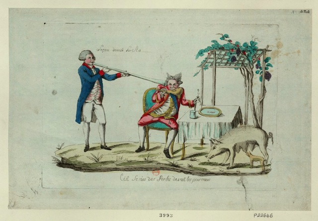 """A satiric image of a """"lesson"""" being given to the king (1791) (via French Revolution Digital Archive)"""