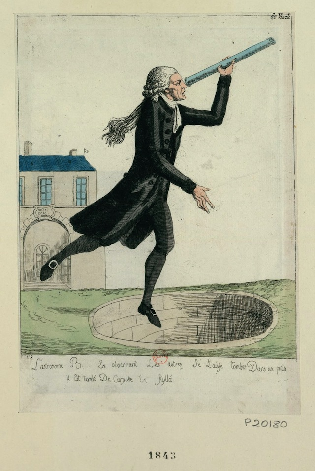 An astronomer looking at the stars, and falling into an abyss (1789-92) (via French Revolution Digital Archive)