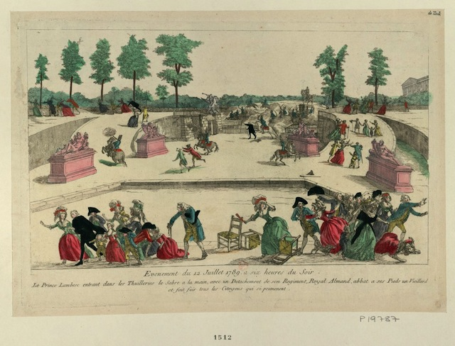 An illustrion of when Prince Lambesc enter the Jardin des Tuileries with a sword and part of his royal regiment on July 12, 1789 (via French Revolution Digital Archive)
