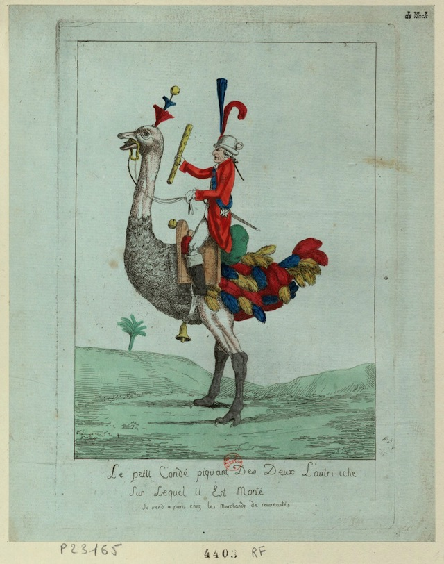 Caricature of Louis-Joseph, Prince of Condé (190-92) (via French Revolution Digital Archive)