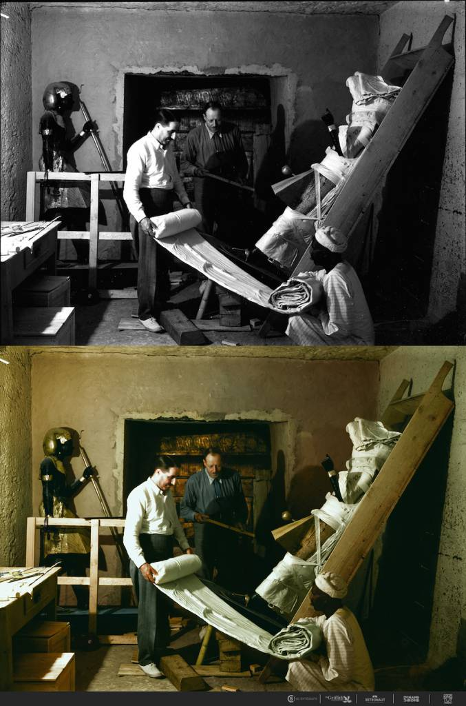Nov. 29, 1923 Howard Carter, Arthur Callender and an Egyptian worker wrap one of the sentinel statues for transport.