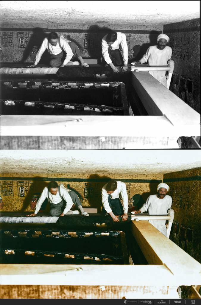 Dec. 30th, 1923 Carter, Mace and an Egyptian worker carefully roll up the linen pall covering the second shrine.