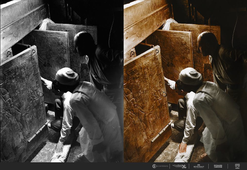 Jan. 4, 1924 Howard Carter, Arthur Callender and an Egyptian worker open the doors of the innermost shrine and get their first look at Tutankhamun's sarcophagus.