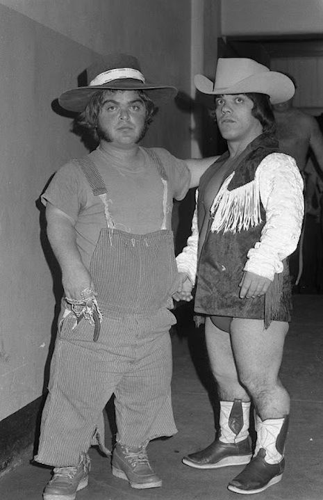 Farmer Pete and Cowboy Lang backstage in Milwaukee, February 3, 1972.