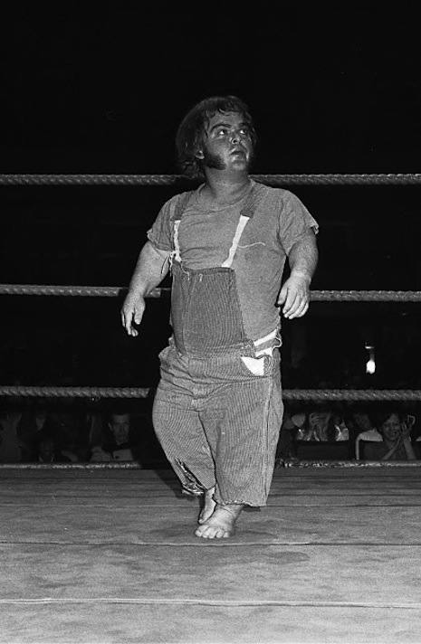 Farmer Pete wrestling in Milwaukee, December 3, 1972. Due to the lack of complete records, it is believed that Farmer Pete was World Champion for seven days in 1957, after beating Sonny Boy Cassidy, who won the title back in a rematch in October the same year.
