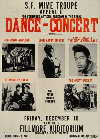 The Grateful Dead performed at this concert, but their name is not on the poster, and a newspaper review of the show three days later refers to them as the Warlocks. Via jerrygarcia.com.