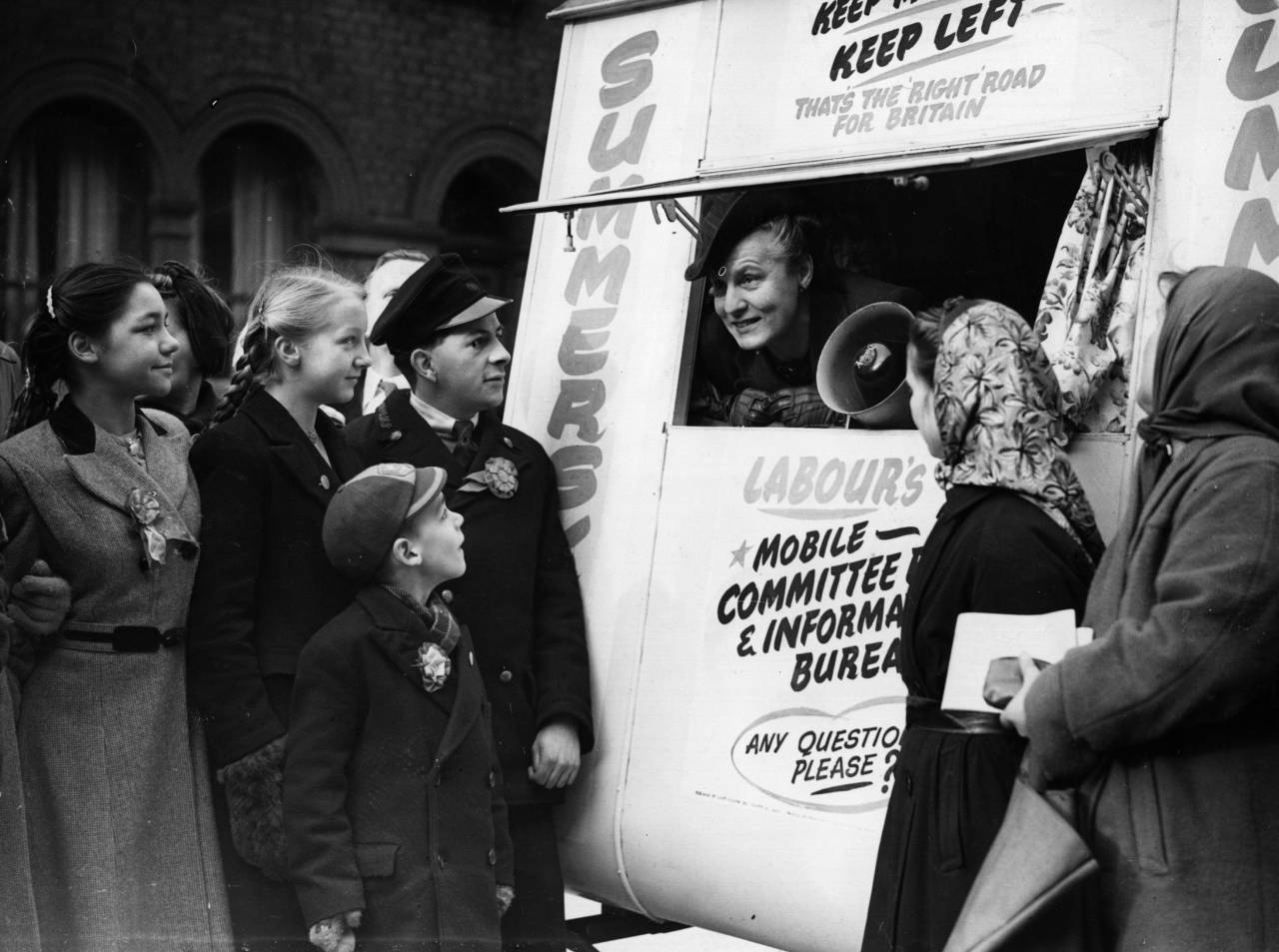 Dr Edith Summerskill (1901 - 1980) the English doctor and politician is pictured at West Fulham, conducting her electioneering campaign from a caravan. (Photo by Keystone/Getty Images)