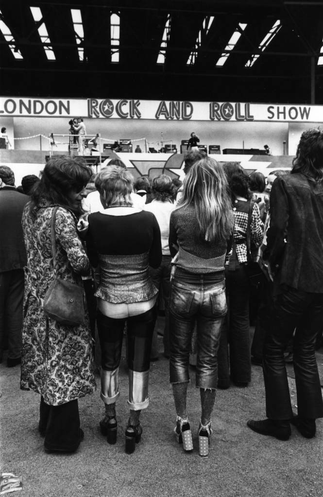 Hippies and rockers together at the rock 'n' roll Revival Show, held at Wembley Stadium, London. (Photo by Michael Webb/Getty Images)
