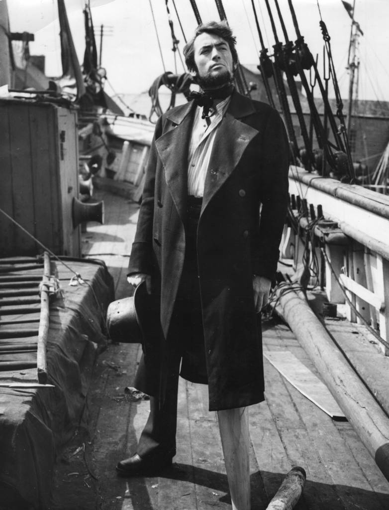Gregory Peck (1916 - 2003), as Captain Ahab during the shooting of 'Moby Dick', on location at Youghal, County Cork, Ireland. (Photo by Hulton Archive/Getty Images)