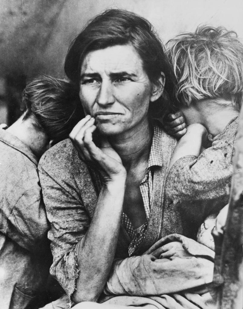 Florence Thompson, a migrant mother with three of her seven children at a farm workers' camp in Nipomo, California. (Photo by Dorothea Lange/Getty Images)