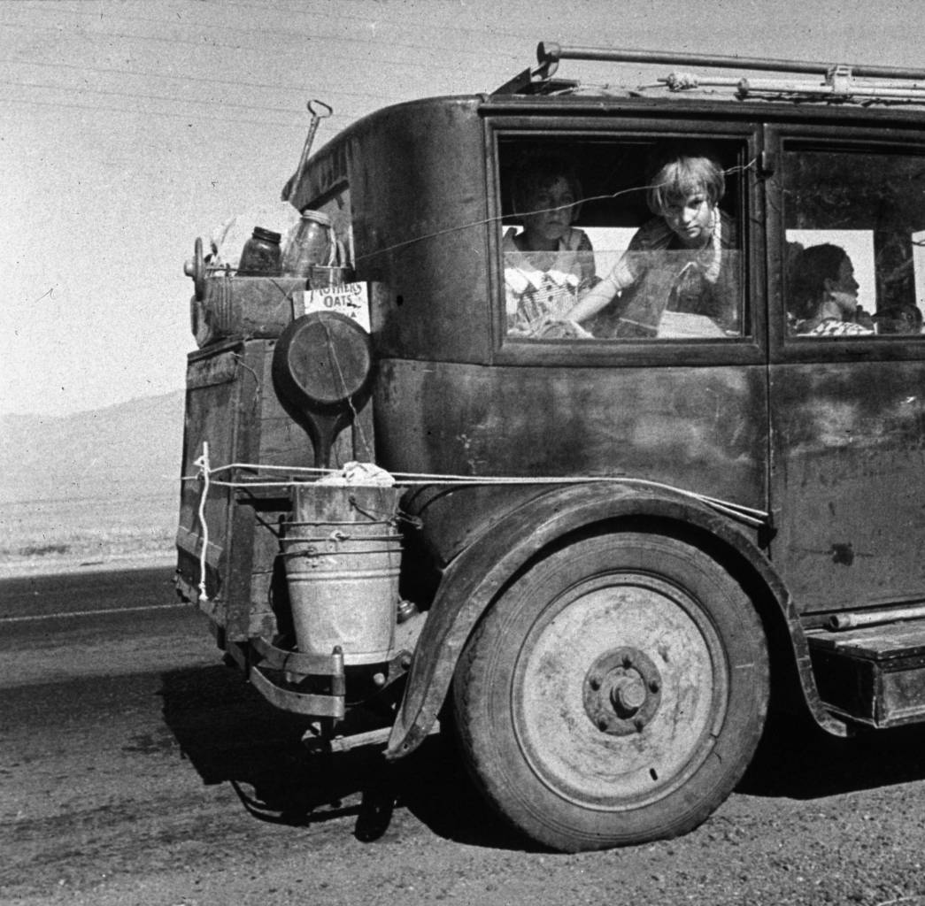 A family of drought refugees from Abilene, Texas, on the road in California, where they are trying to find work. (Photo by Dorothea Lange/Getty Images)