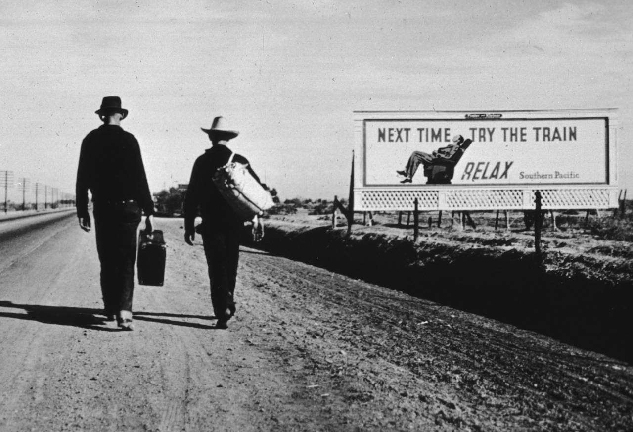 Two men walking towards Los Angeles, California. (Photo by Dorothea Lange/Getty Images)