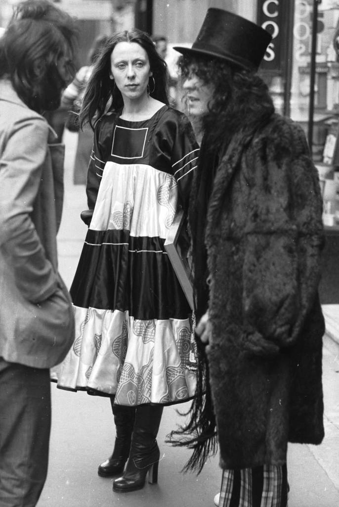 10th February 1972: Marc Bolan, lead singer with T Rex, outside Hatchett's in London after winning the Disc and Music Echo Award for Best Group. With him is his artist wife June. (Photo by Central Press/Getty Images)