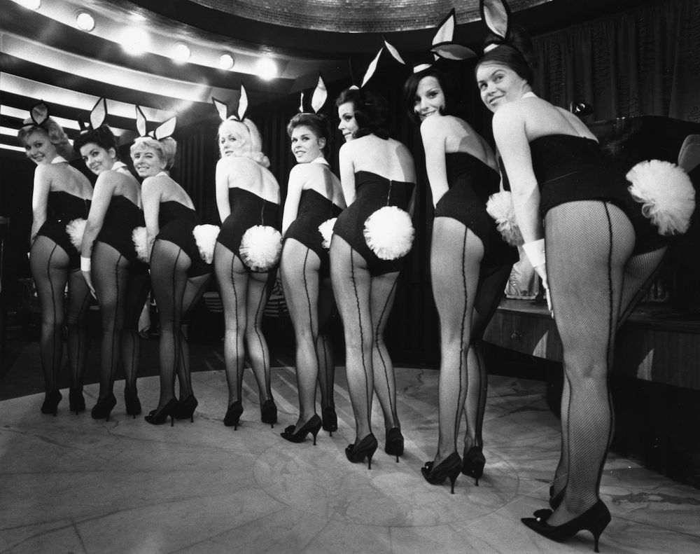 11th February 1963: A line-up of Bunny Girls at a Playboy club. (Photo by Victor Blackman/Express/Getty Images)