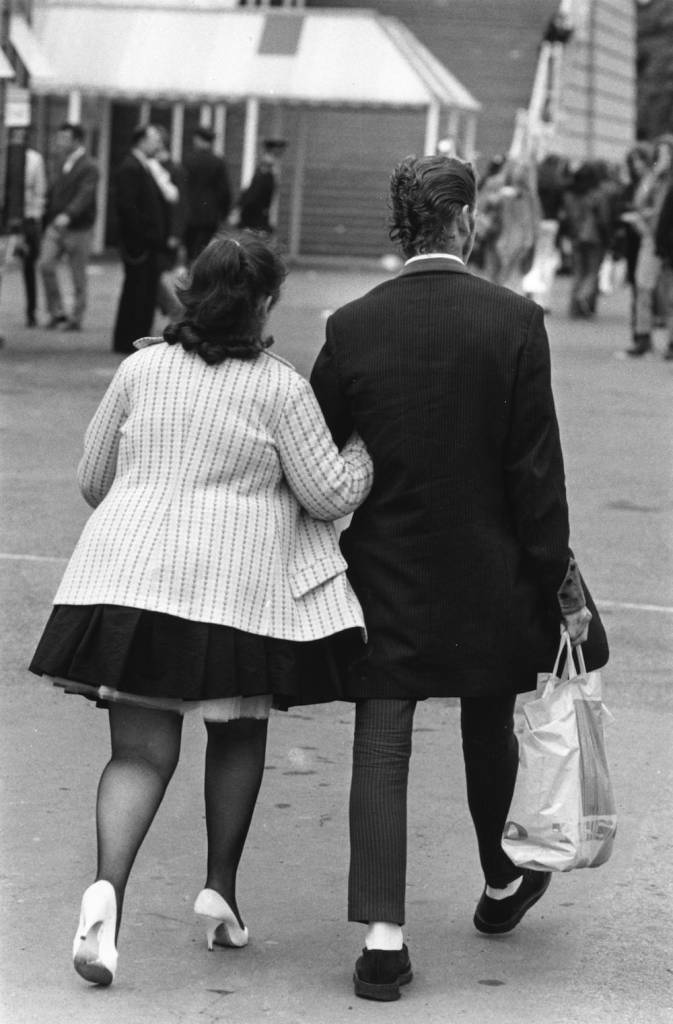 5th August 1972:  A Teddy boy and his girlfriend arm-in-arm at a Rock 'n' Roll Festival at Wembley, north London.  (Photo by Ken Towner/Evening Standard/Getty Images)