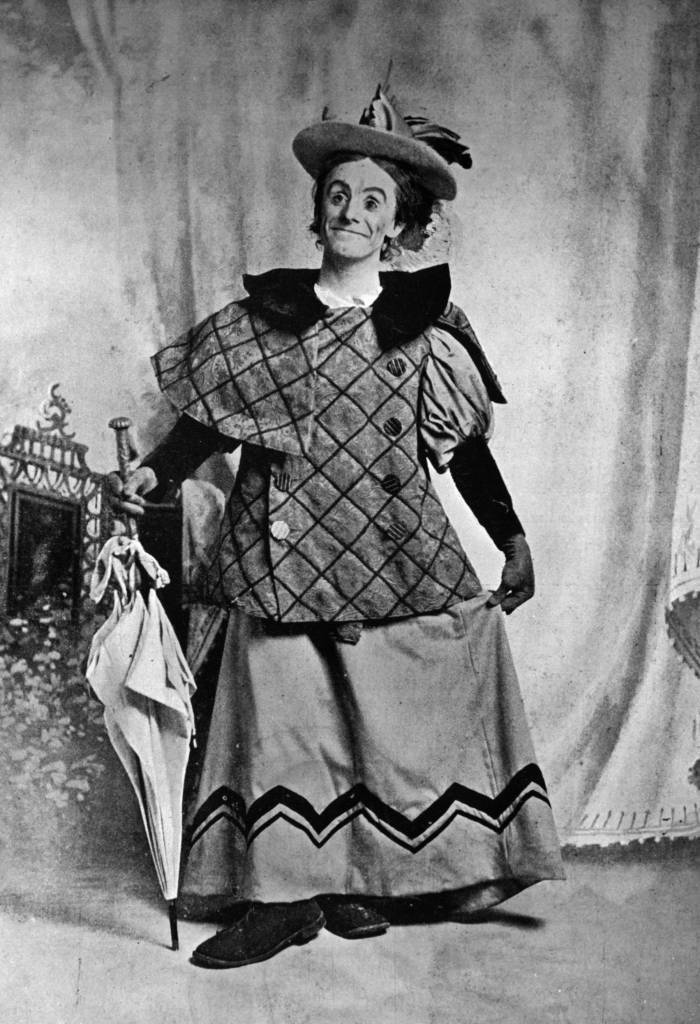 1896: Dan Leno as the 'Baroness' in the pantomime 'Cinderella' at Drury Lane theatre, London. Dan Leno was an English comedian, and pantomime artist also famous for his clog dancing ! (Photo by Hulton Archive/Getty Images)