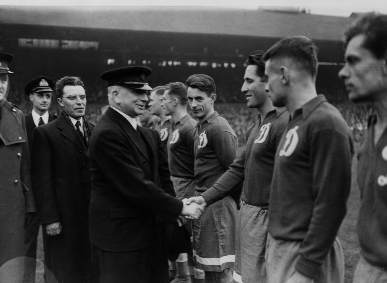 13th November 1945: British Labour politician Albert Victor Alexander (1885 - 1965) greets members of the Dynamo Moscow football team before their game against Chelsea at Stamford Bridge. (Photo by Central Press/Getty Images)