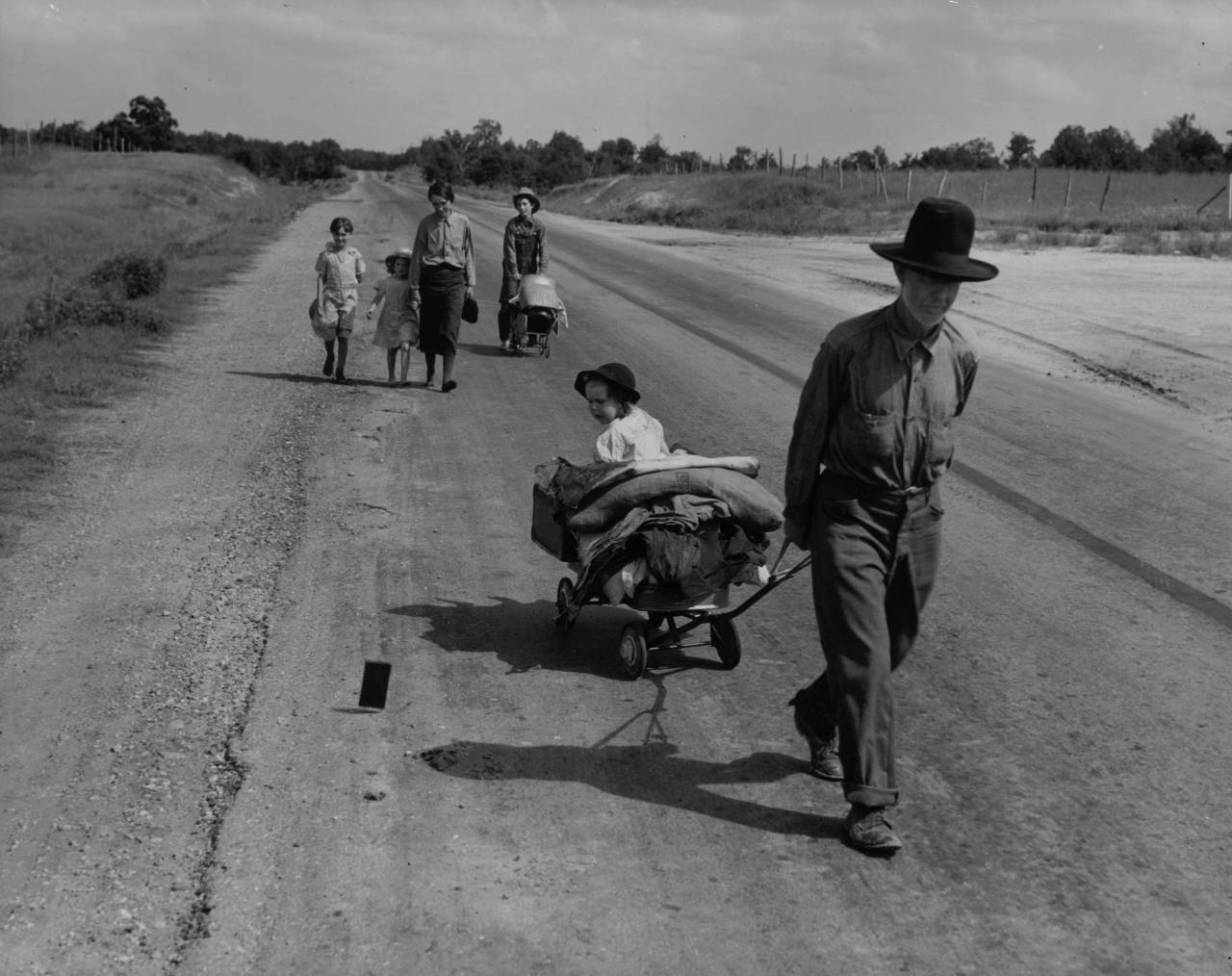 June 1938: A family in Pittsburg County, Oklahoma is forced to leave their home during the Great Depression, due to a serious drought in the region. (Photo by Dorothea Lange/Keystone/Getty Images)