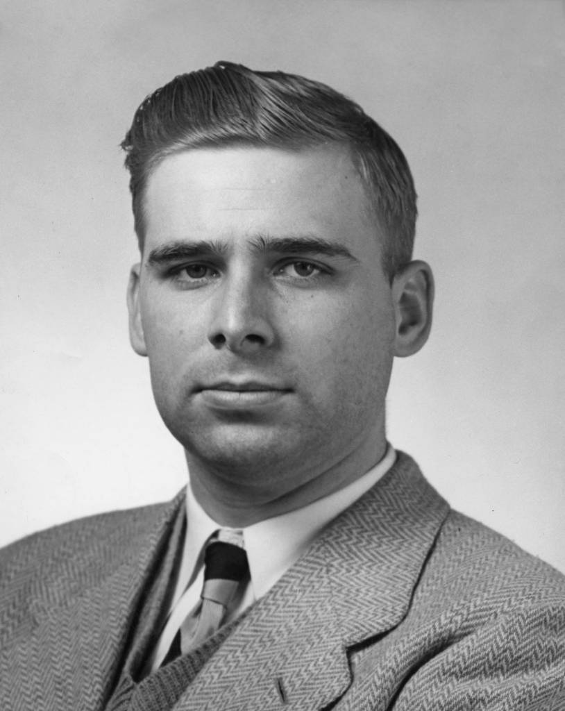 Pan American airways pilot, third officer E W Roddenberry, better known as Gene Roddenberry, creator of the Star Trek television series and franchise, circa 1947. (Photo by Keystone/Archive Photos/Getty Images)