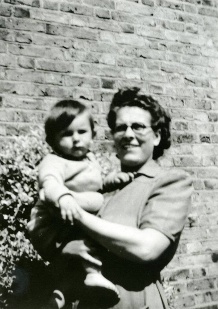 LONDON,UNITED KINGDOM - CIRCA 1947: (EMBARGOED FOR PRINT USAGE UNTIL THURSDAY JULY 2ND 2015) Ronnie Wood aged 9 months old (1947) with his mother Elizabeth in Hillingdon, West London. This previously unseen image will form part of The Rolling Stones - 'Exhibitionism' at Londons Saatchi Gallery. Mick Jagger, Keith Richards, Charlie Watts and Ronnie Wood have opened their personal archives and found never before seen photographs of themselves as youngsters. These along with hundreds more rare and unseen images will create the first ever international Rolling Stones exhibition which will open at the Saatchi Gallery in April 2016.(Photo by Property RW/Getty Images)