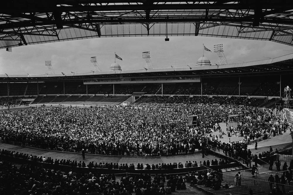 Teddy Boys, hippies, Rockers and Hell's Angels gathered at Wembley Stadium for a Rock 'n' Roll revival show, 5th August 1972. (Photo by Michael Webb/Keystone/Getty Images)