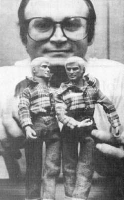 Creator Harvey Rosenberg displays two Gay Bob dolls
