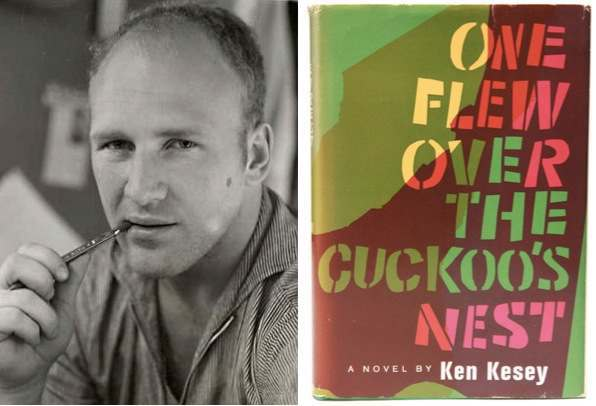 Above: Author Ken Kesey used some of the money he made from his 1962 novel, One Flew Over the Cuckoo's Nest, to fund the Acid Tests of 1965 and 1966. Top: The undated Muir Beach Acid Test poster by Paul Foster. The one on the left was hand-colored by Sunshine Kesey. Via dead.net.