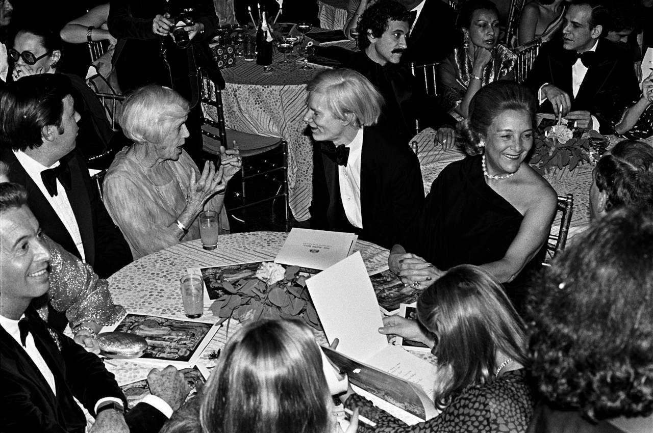 Lillian Carter, left, and Andy Warhol at Studio 54 in December 1977