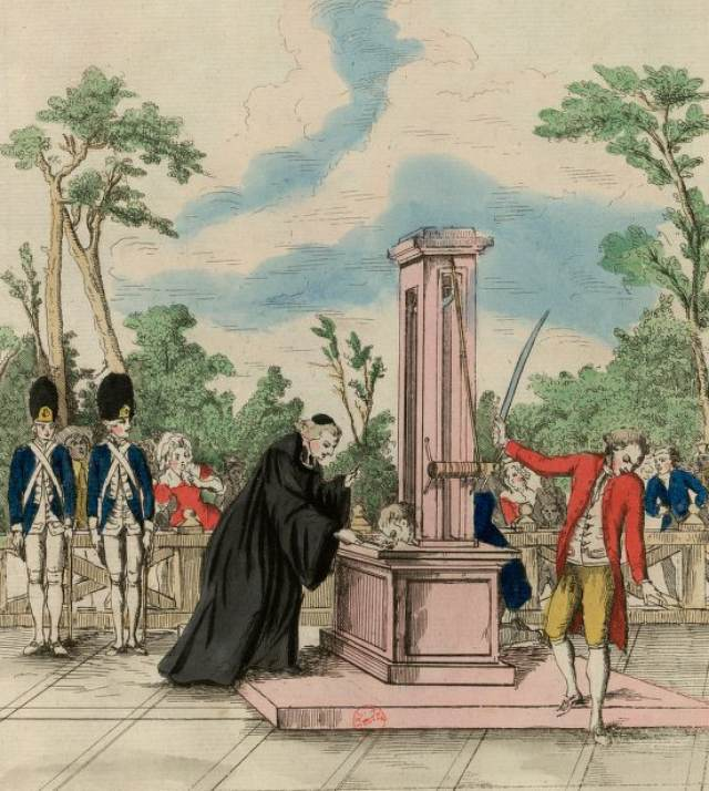 Mr. Guillotin proposing his machine to the National Assembly for executions (1791) (via French Revolution Digital Archive)